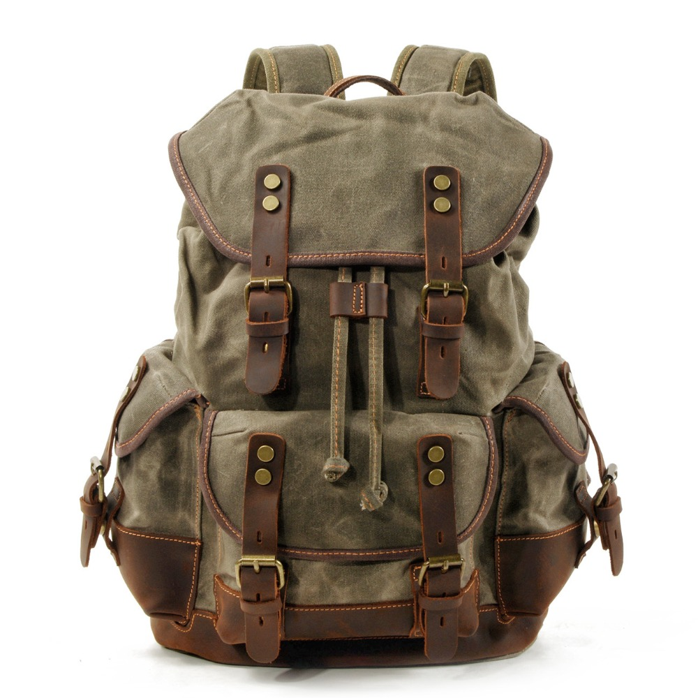M272 Vintage Canvas Leather Backpacks for Men Laptop Daypacks Waterproof Canvas Rucksacks Large Waxed Mountaineering Travel