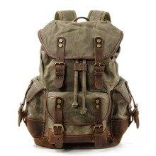 M272 خمر قماش حقيبة ظهر مصنوعة من الجلد للرجال محمول Daypacks مقاوم للماء قماش حقائب الظهر كبيرة مشمع تسلق الجبال السفر