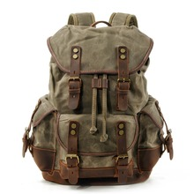 M272 Vintage Canvas Leather Backpacks for Men Laptop Daypacks Waterproof Canvas Rucksacks Large Waxed Mountaineering Travel Pack