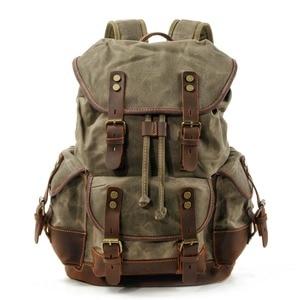 Image 1 - M272 Vintage Canvas Leather Backpacks for Men Laptop Daypacks Waterproof Canvas Rucksacks Large Waxed Mountaineering Travel Pack