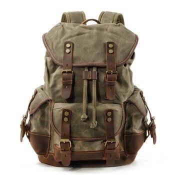 M272 Vintage Canvas Leather Backpacks for Men Laptop Daypacks Waterproof Canvas Rucksacks Large Waxed Mountaineering Travel Pack