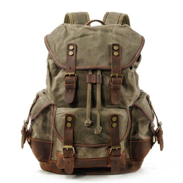 M272 Vintage Canvas Lederen Rugzakken Voor Mannen Laptop Daypacks Waterdichte Canvas Rugzakken Grote Waxed Bergbeklimmen Travel Pack