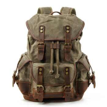 M272 Vintage Leinwand Leder Rucksäcke für Männer Laptop Daypacks Wasserdichte Leinwand Rucksäcke Große Gewachste Bergsteigen Travel Pack
