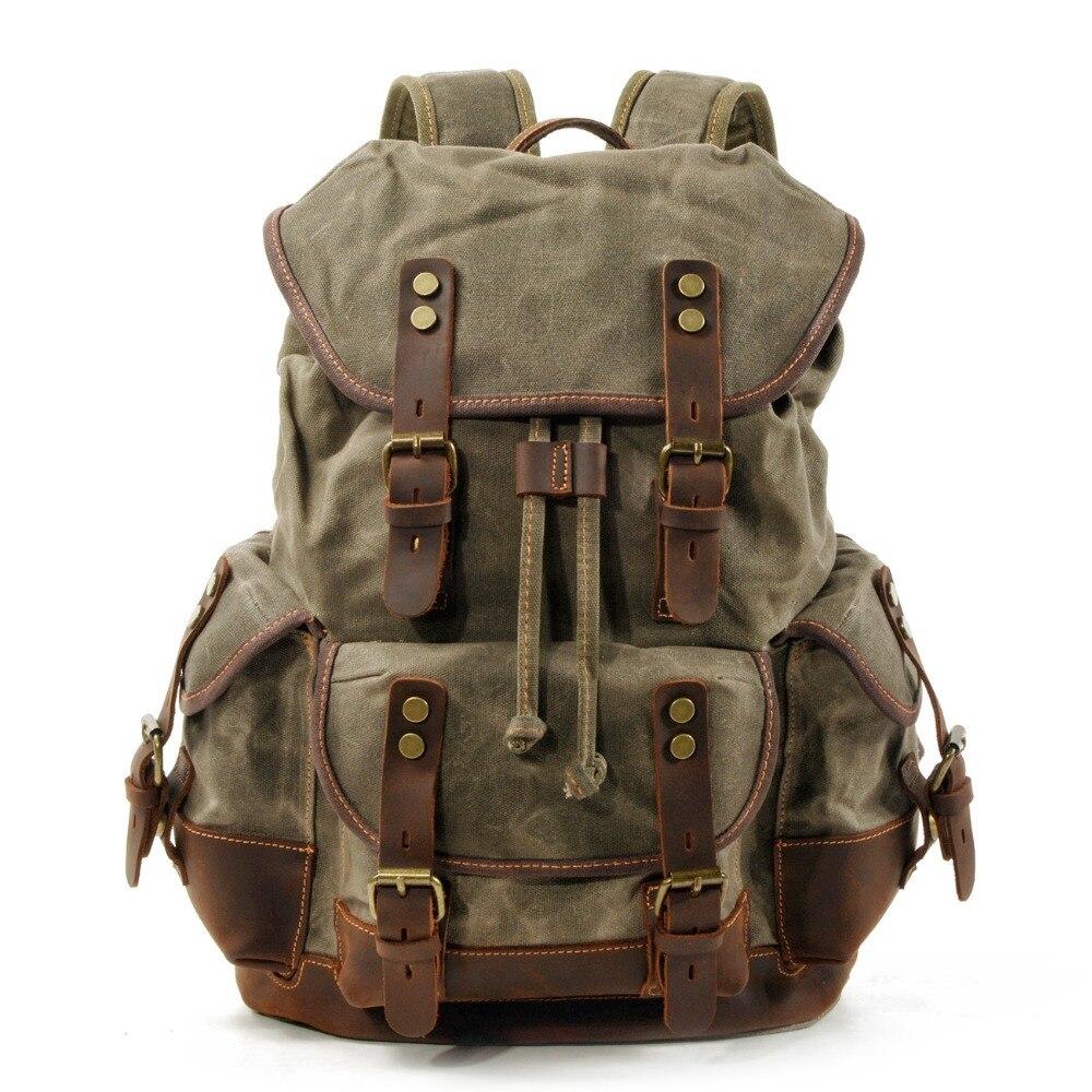 Mochila de lona de cuero Vintage M272 para hombres mochila para ordenador portátil mochila de lona impermeable paquete de viaje de Montañismo encerado grande