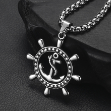 316L Stainless Steel Rudder Anchor Pendant Necklace Jewelry Mens Long Chain Necklaces Jewellery Gift