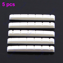 Hot 5Pieces/set Unbleached Curved Slotted guitar Bone Nut Flat Bottom for Strat