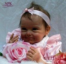 Npk lifelike boneca reborn 베이비 인형 소프트 리얼 터치 비닐 실리콘 완구 어린이를위한 생일 brinquedo menina