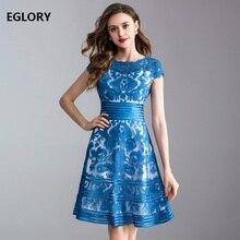 Элегантные женские платья, лето, высококачественная одежда для женщин, вышивка по всей поверхности, короткий рукав, а-силуэт, кружевное платье, голубое, фиолетовое, 3XL