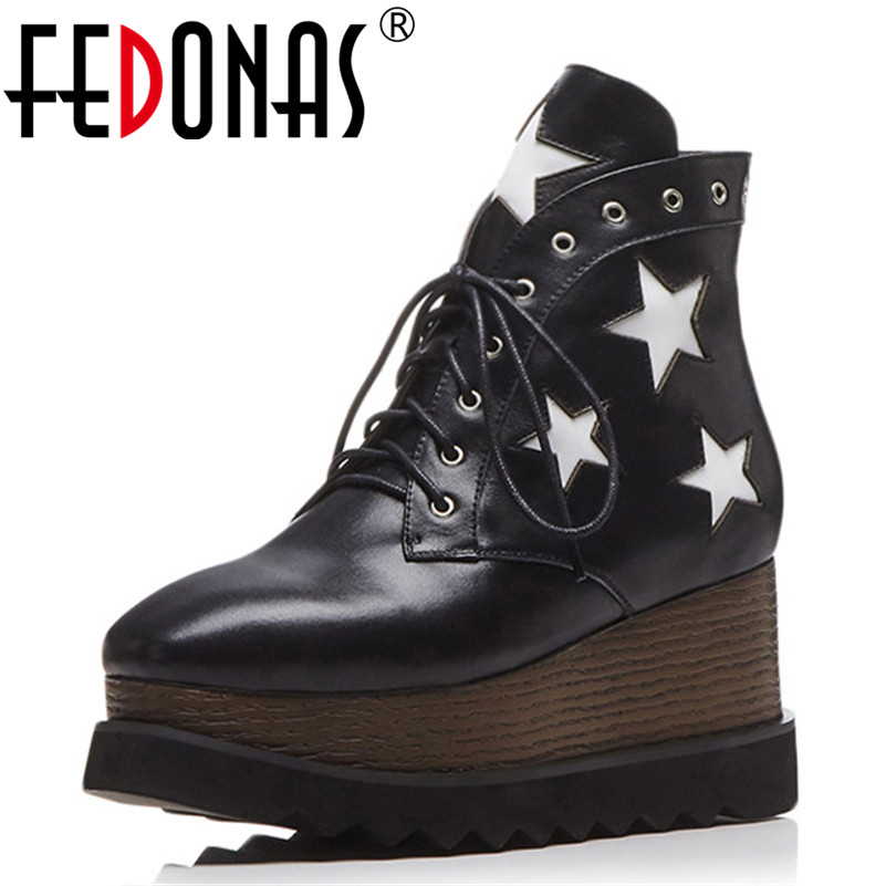 FEDONAS Punk Women Wedges High Heels Ankle Boots Lace Up Autumn Winter Party Night Club Pumps High Platforms Casual Shoes Woman
