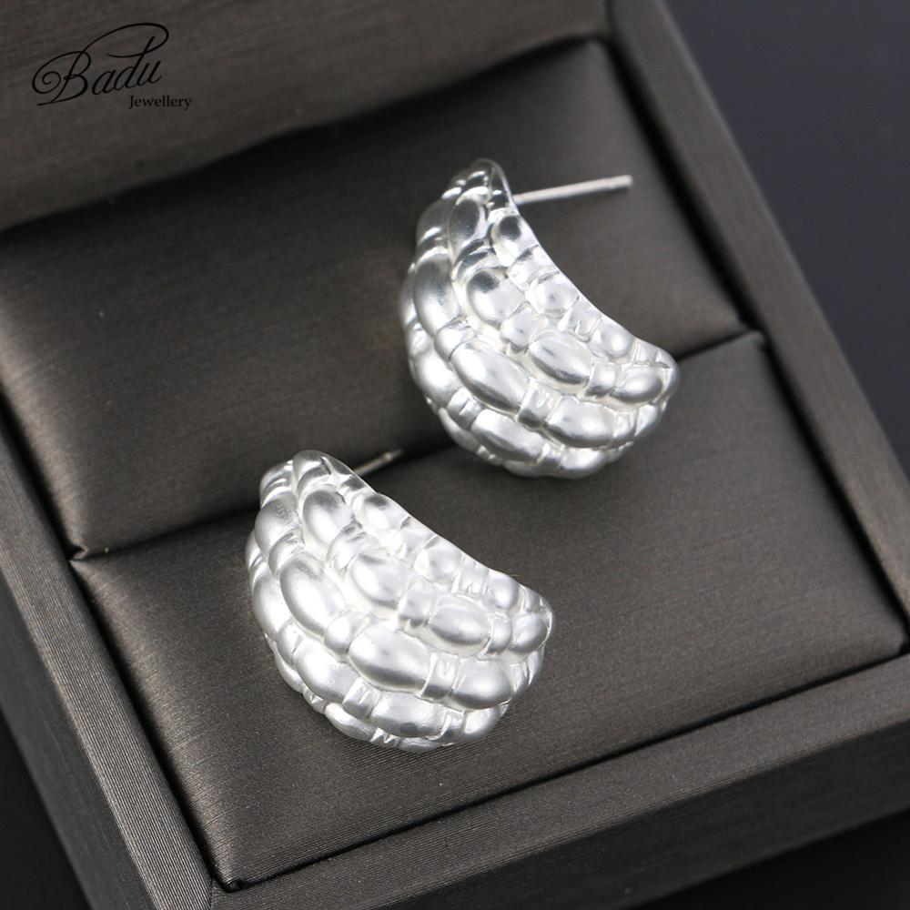 Badu Silver Small Earrings for Women Fashion Irregular Surface Alloy Earrings Fashion Charm 2019 New Jewelry Wholesale Cheap in Stud Earrings from Jewelry Accessories