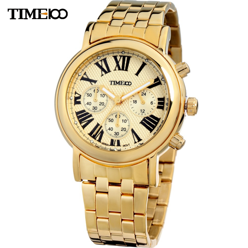 TIME100 Men's Analog Display Round Case Steel Strap Round Dial reloj Roman Numerals Three-circle Watches Los relojes de cuarzo цена