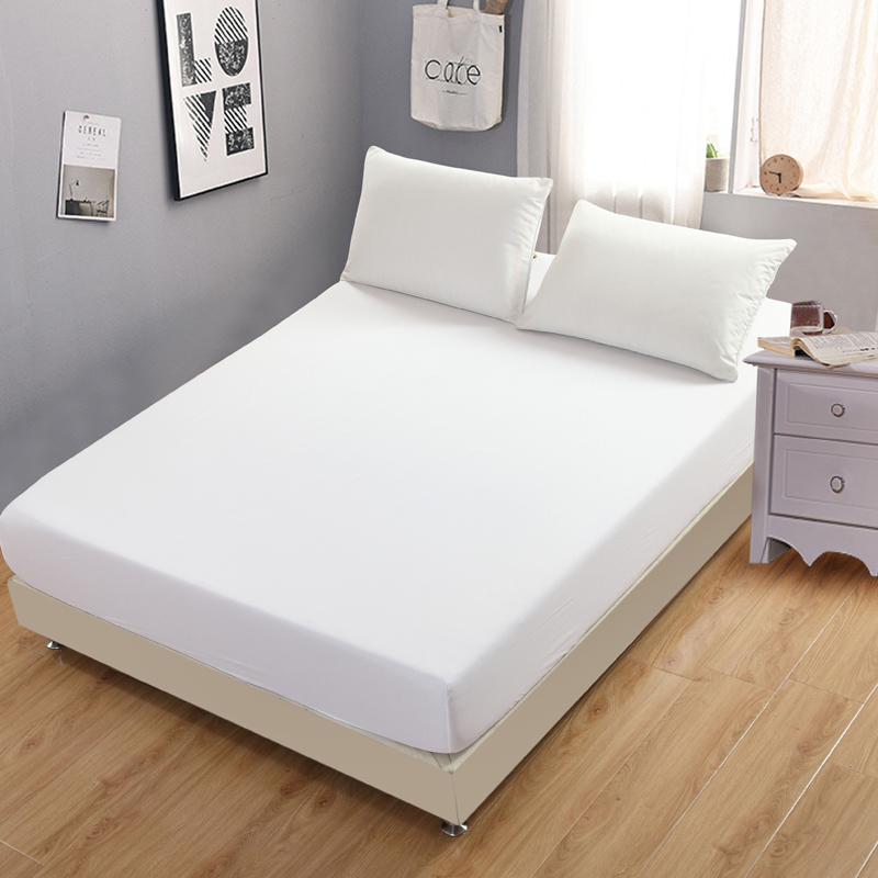 Hotel Hospital Mattress Cover Fitted Sheet Plain Bedding Mattress Elastic Bedspread Solid White non-slip bedspread Protector