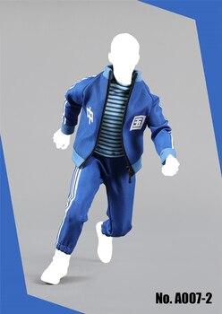 1/6 мужская повседневная спортивная одежда комплект пальто брюки и футболка красный синий для 12  фигурки тела