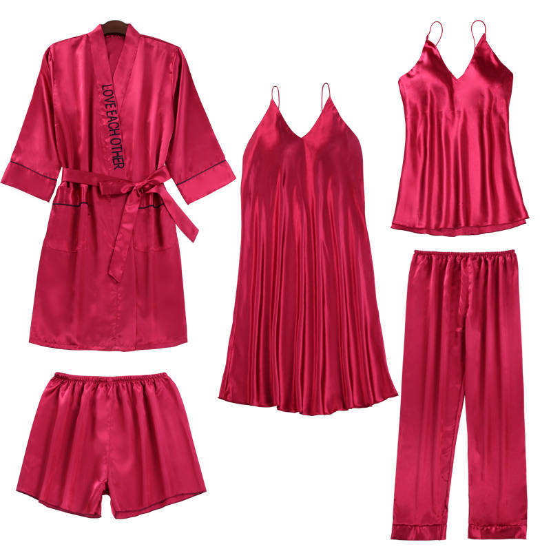 Burgundy Pajamas For Women Sexy Lace Trimmed Nightwear Satin Pajamas With Shorts 5-Piece Sleepwear Suits Casual Home Clothes