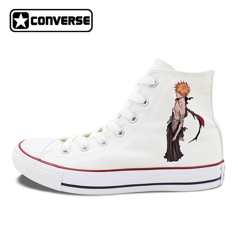 Anime BLEACH Kurosaki Ichigo Converse Chuck Taylor Shoes Flat Walking Shoes Design Unisex High Top White Black Canvas Sneakers