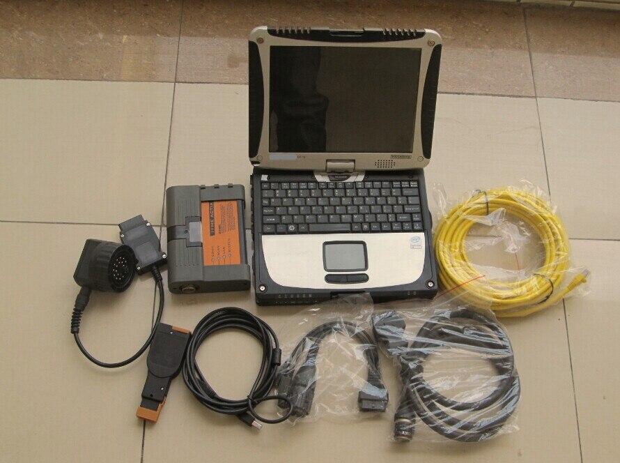 Pour bmw icom a2 b c d outil de diagnostic de programmation avec le logiciel 500 gb hdd ordinateur portable cf-19 tactile pour bmw voiture et moto scanner