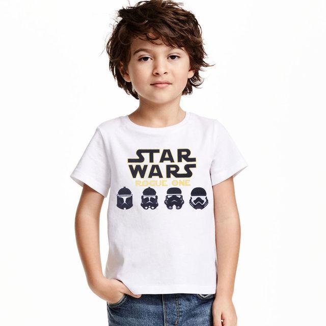 2017 STAR WARS 4-11 Edades Niños Niños Niño Niña de algodón de Manga Corta Camisetas Ropa De Los Muchachos Del Verano Tops Camisetas