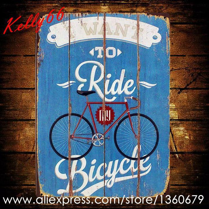 [ Kelly66 ] RIDE MY BICYCLE Metal Plaque Wall Art Decor Gift Craft 20*30 CM Size AA-401 ...