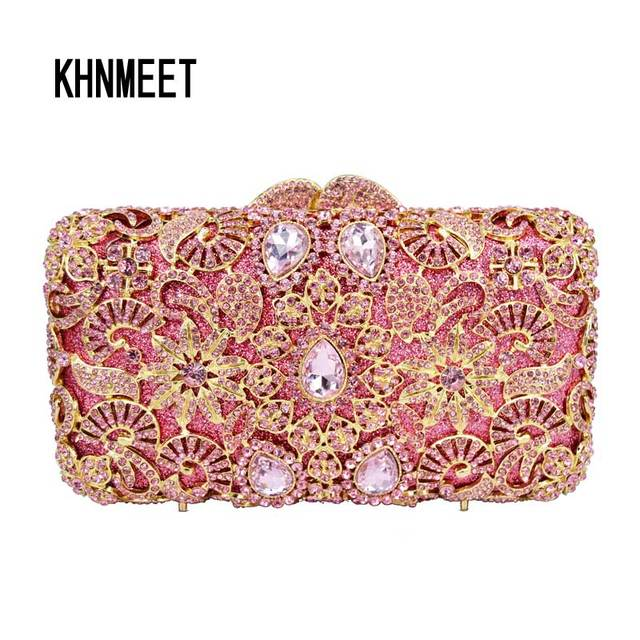 b1278a8b54a71 Pink Crystal Evening Bag Luxury rhinestone Clutch Wedding Purse Women  Handbags SC632