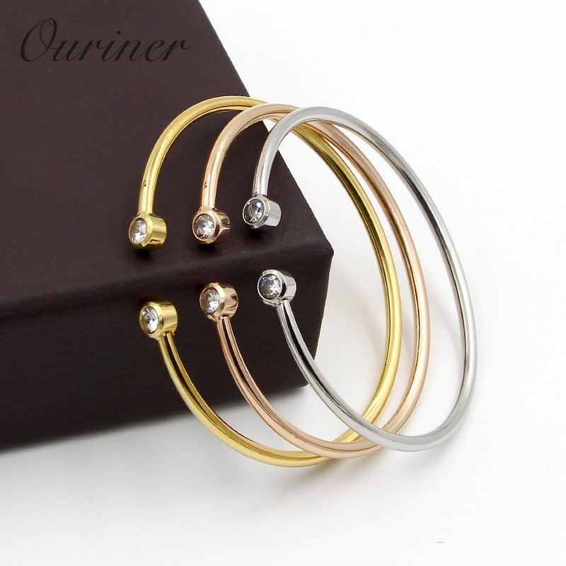 New Brand Bangle Top Quality Color Gold Stainless Steel Jewelry Inlay CZ Crystal Letter Noble Women Cuff Bangles Bracelets K0101