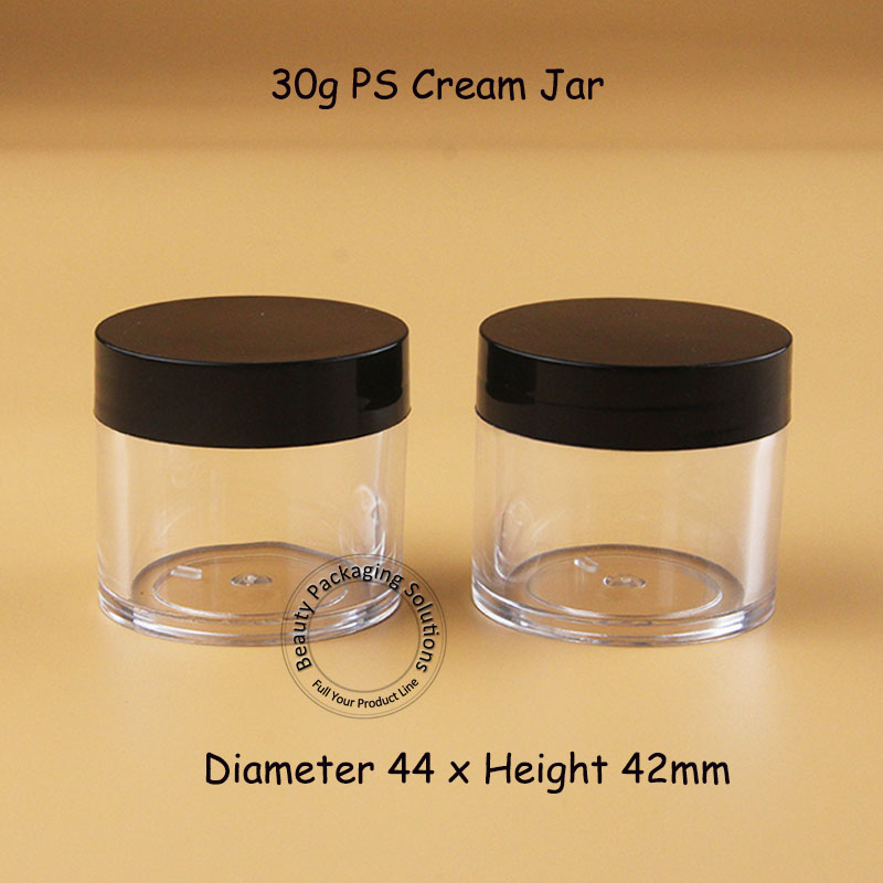 100pcs Lot Wholesale 30g Plastic Cream Jar Empty Cosmetic Container Small Eyeshadow Bottle 1OZ Refillable Black