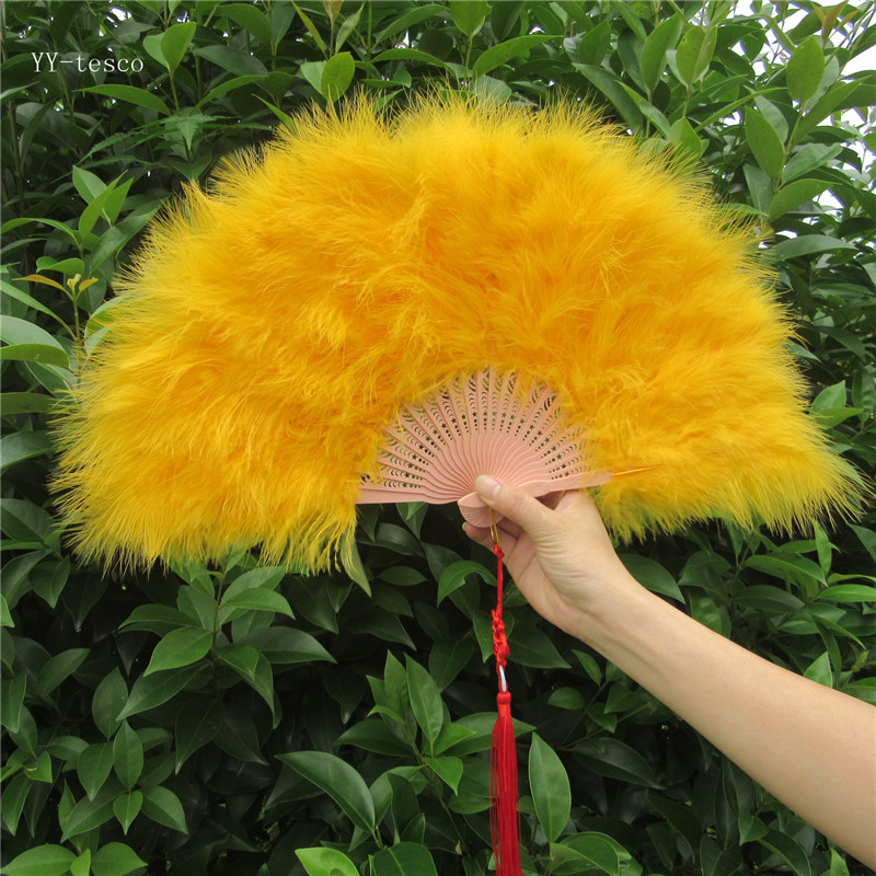 High Quality Golden Feather Fan For Dance Props Hand Goose Feather Folding Fans 50*30cm Wedding Dance performance DIY decoration