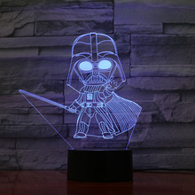 3d Led Night Light Lamp Star Wars Darth Vader Childrens Bedroom Decorative Color Changing Usb for Kid Boy Birthday Gift