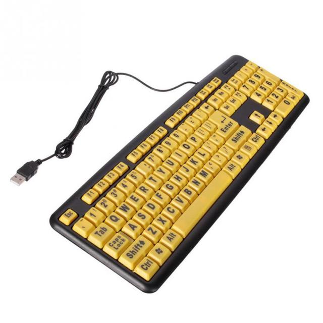 Practical the Elderly High Contrast Yellow Keys Black Letter Large Print USB Interface Computer Keyboard with 1.2m Cable Length
