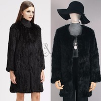 Hot Lady Knitted Fur Coat Real Rabbit Fur Full Sleeve Long Jacket Pockets Thick Causal Cardigan Overcoat Jacket