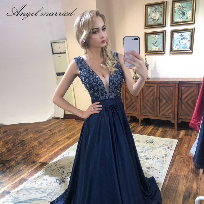 Angel Married Fashion Evening Dresses Low V Neck Blue Prom Gowns Long New  Backless Women Formal Party Dress Vestido De Festa 8c38f48cb5d0
