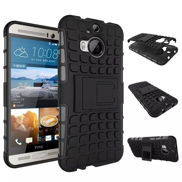 pretty nice d3a8f 8e19f US $3.98 |For HTC One M9+ M9 Plus Hybrid Heavy Duty Rugged Combo Grain Skin  Stand Holder Bracket Shockproof Armor Military Tire Case Cover on ...