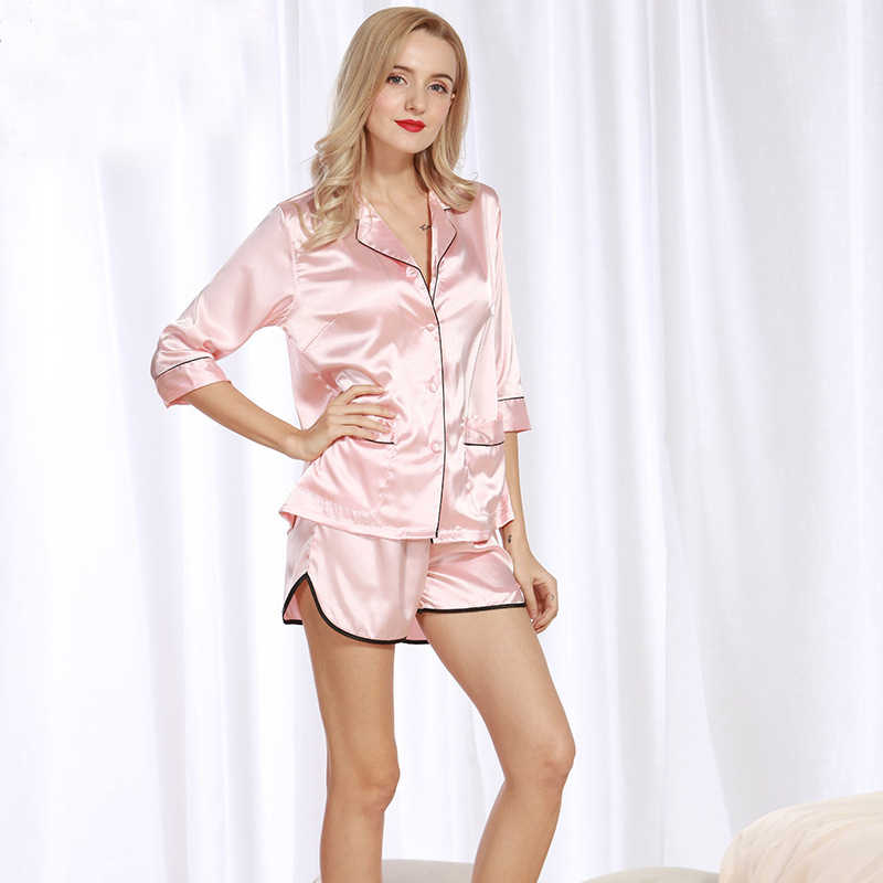 310eb12e0b PS095 Sexy Pajama Set Women Half Sleeve and Shorts Two Pieces Set Brand  Pyjama Black White