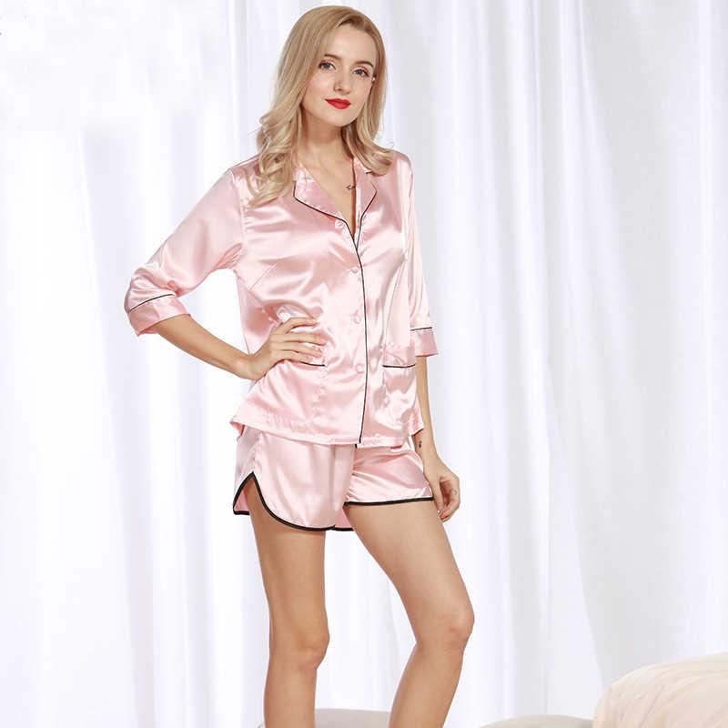 75308d14dc5 PS095 Sexy Pajama Set Women Half Sleeve and Shorts Two Pieces Set Brand  Pyjama Black White