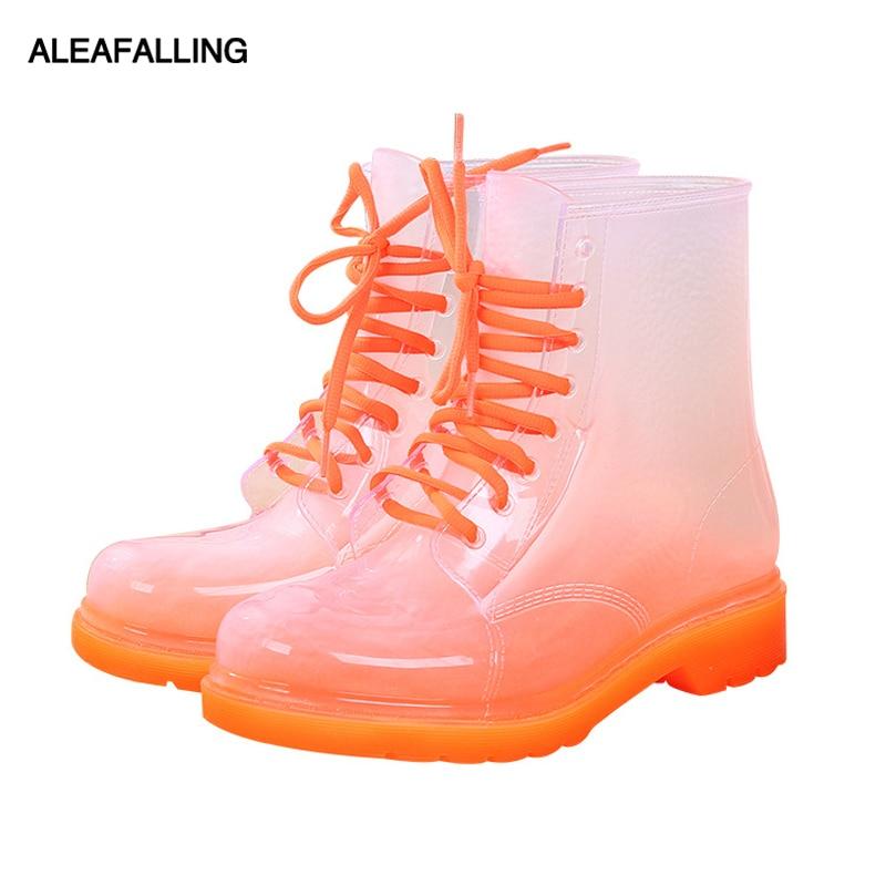 Aleafalling Women Rain Boots Mature Lady Lace Up Waterproof Lady Shoes Transparent -7804