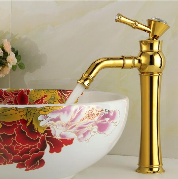 все цены на Hot & Cold Brass single lever single lever gold Sink Faucet Bathroom Basin Faucet basin mixer tap