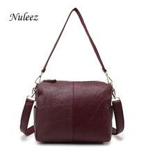 Nuleez Brand Shoulder Strap Bag Real Leather Women Handbags Flap Red Soft Crossbody Bags For Women Zipper Summer Handbags 3103