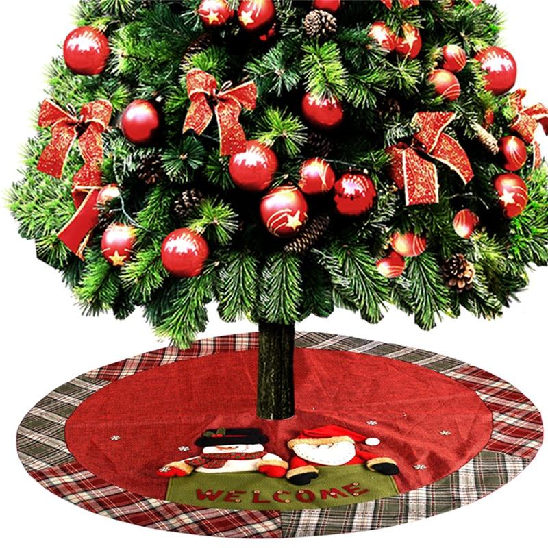 Linen Christmas Tree Skirt: 1.2m Linen Christmas Tree Skirt Welcome Santa Snowman