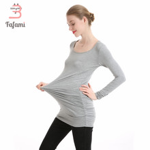 Maternity Clothes Tees Lycra pregnancy nursing clothes Plus size T shirt for pregnant women bts solid tshirt clothing winter(China)