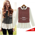 Free shipping The new 2014 dolls jacquard cotton and linen material sweater long-sleeved shirt