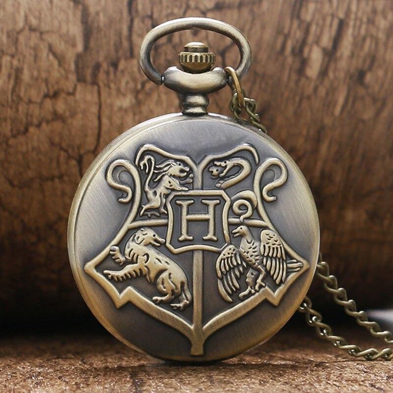 Hogwarts School Motto Badge Snake Lion Eagle Wolf Retro Quartz Men Pocket Watch with Necklace Chain Bronze Pendant Hour Clock