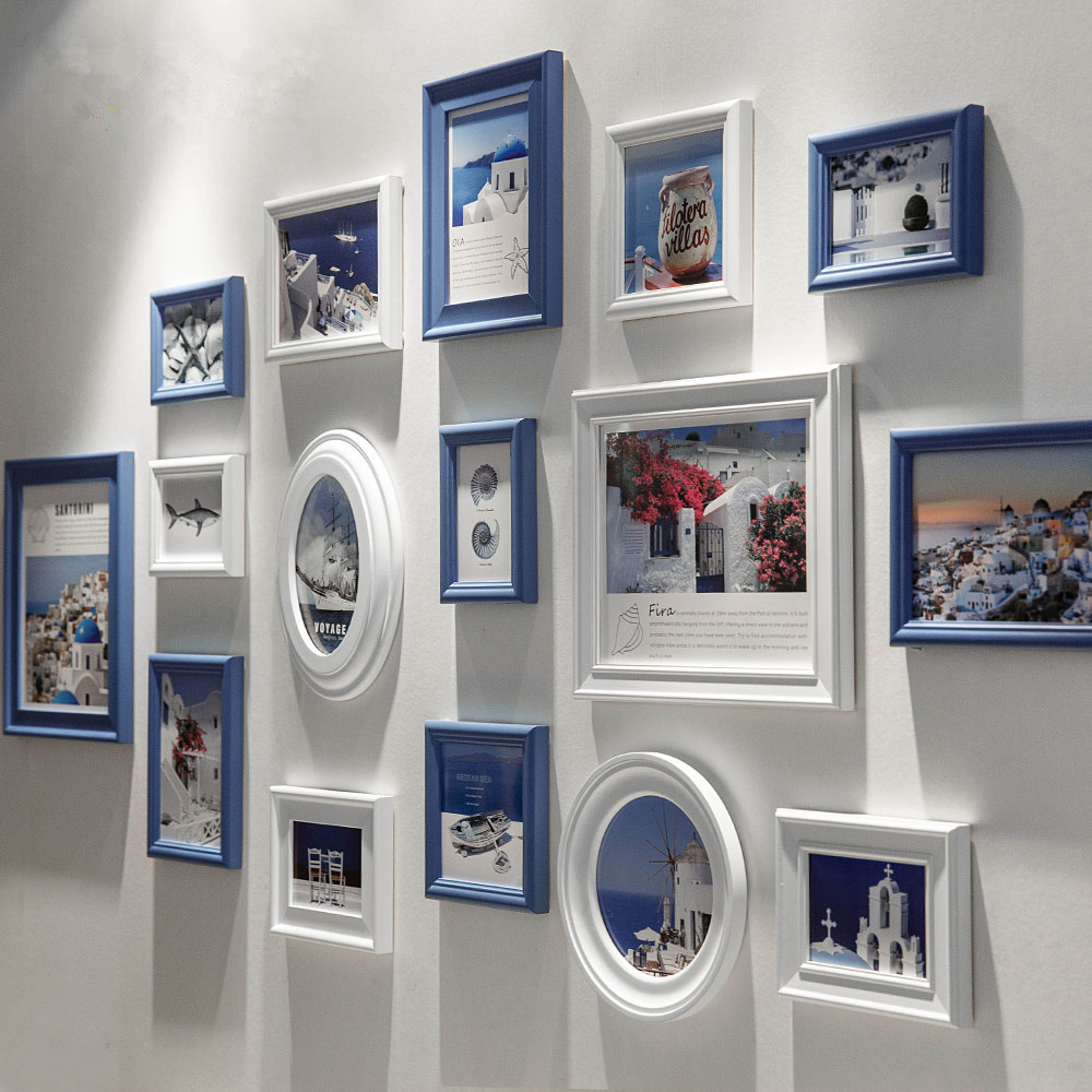 Ev ve Bahçe'ten Çerçeve'de 16 adet/takım akdeniz tarzı fotoğraf çerçevesi  resim çerçeveleri duvar  beyaz mavi çerçeveleri ev dekorasyon için  porta retrato  marcos title=