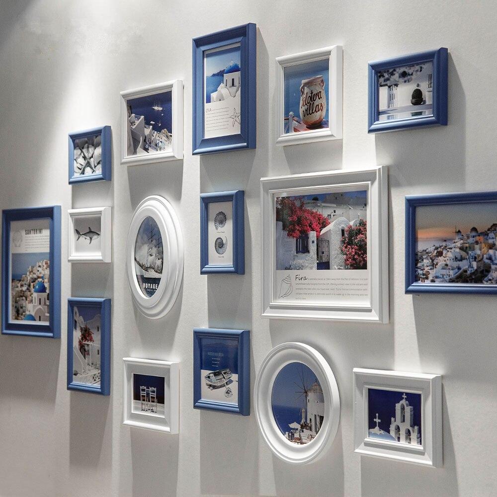 16 unids/set marco de fotos de estilo mediterráneo, marcos de fotos en la pared, Marcos azules blancos para la decoración del hogar, porta retrato marcos