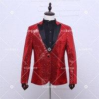 Fashion Red Blazer Men Casual Stage Jacket Dj Dancing Men Sequin Blazer Costume Homme Blazer Homme