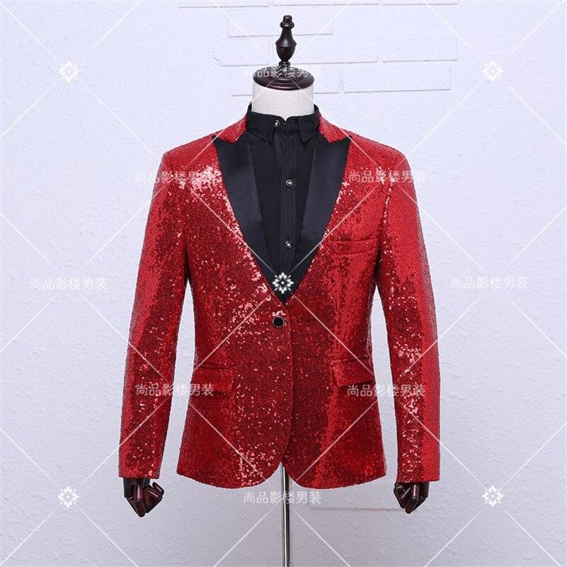 패션 레드 재킷 남성 캐주얼 무대 재킷 DJ 춤 남성 스팽글 재킷 의상 옴므 블레 이저 옴므 남성 레드 스팽글 재킷 남성