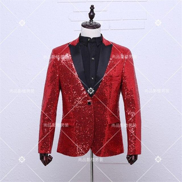 df637044 Fashion red blazer men casual stage jacket dj dancing men sequin blazer  costume homme blazer homme mens red sequin blazer men