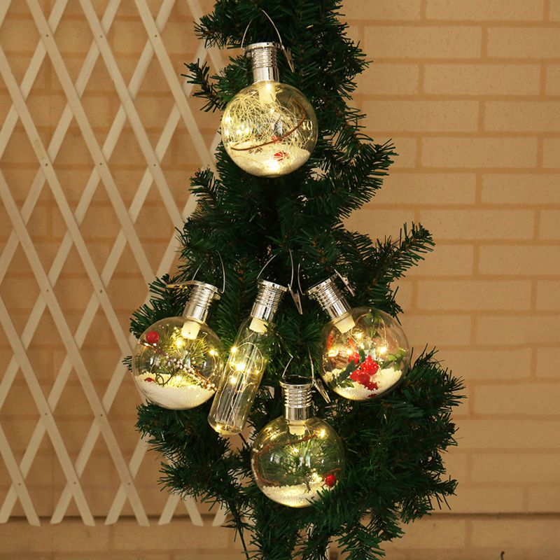 Solar Powered Round Bulbs LED Lights Christmas Tree Decoration Lights Hanging Lights