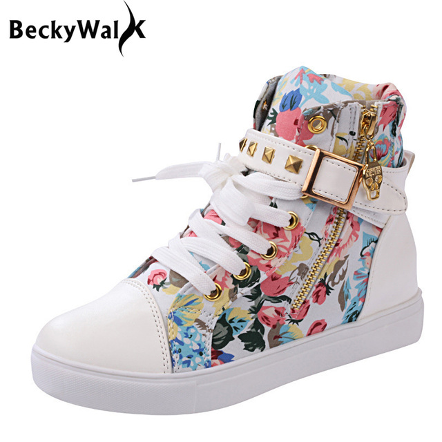 Women's Animal style White High Top Canvas Shoes Animal style Canvas Shoes for Women