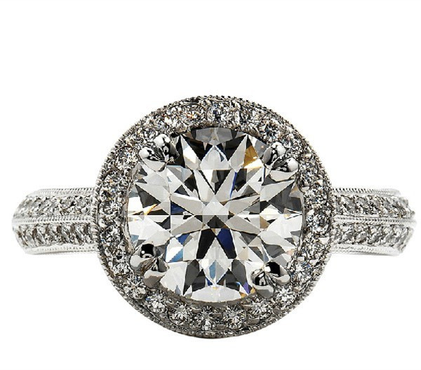 Excellent Cut Brilliant Diamond Ring Engagement  2 Carat Micro Pave Setting Band Paved 925 Silver White Gold Plated