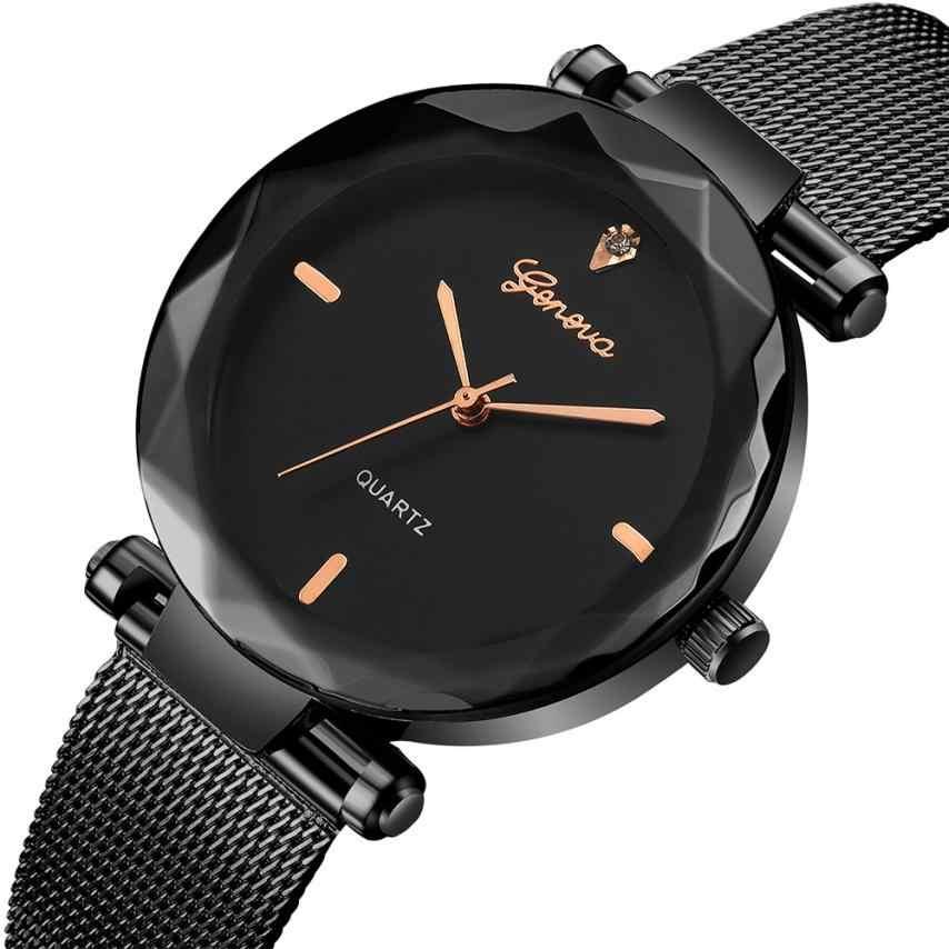 נשים של שעון 2018 עלה זהב רשת חגורת נירוסטה שעון יד נשים ז 'נבה קלאסי חם יוקרה נשים קוורץ