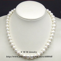 Personality White Pearl Necklace 10mm Real Freshwater Pearl Necklace Genuine Natural Pearl Jewelry